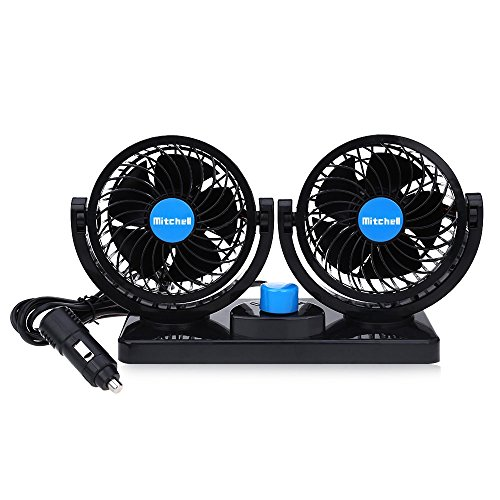 Price comparison product image JHD Mitchell 2 Gears 360 Degree Rotating Car Cooling Fan Air Conditioner (Blue)