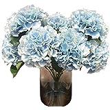"""TOOGOO(R) Artificial Hydrangea Flower 5 Big Heads Bouquet (Diameter 7"""" each head) Blue"""