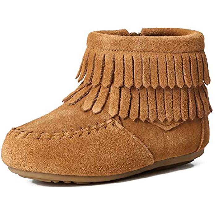 Kids Toddler Suede Leather Double Fringe Ankle Boots for Girls