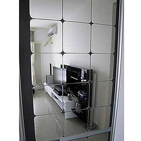Vigorfun 12 Stück Spiegelfliesen Selbstklebend Abgerundete Ecke Spiegel Aufkleber Wandspiegel Zum Wanddekoration Silber 15 X 15 Cm
