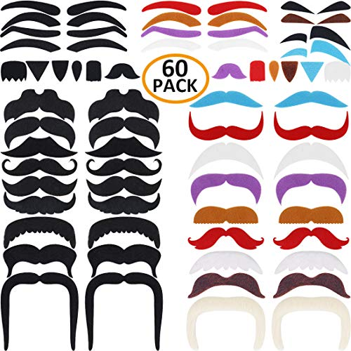 DecoTiny 60 Pack Novelty Mustache+Eyebrow+Beard Set Self Adhesive Facial Party Cos Favors -