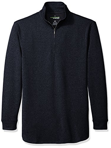 Haggar Men's Long Sleeve Athleisure Ottoman Knit Quarter Zip, Dark Charcoal Grey Heather, S