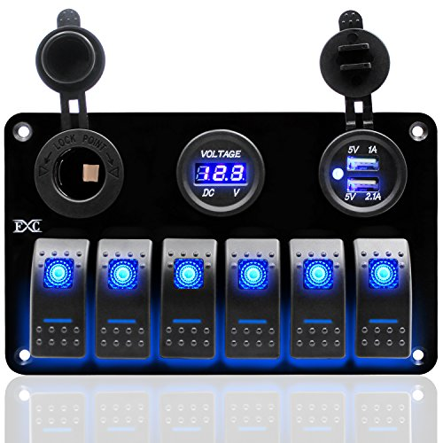 FXC Metal Aluminum Marine Boat Rocker Switch Panel 6 Gang With Dual USB Slot Socket + Cigarette Lighter + Digital Voltage Display LED Light for Car Rv Vehicles Truck ()