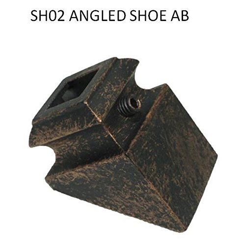 (Pack of 10) Antique Bronze (AB) 1/2'' Angled Shoe with set screw for Metal Balusters Iron stair parts Metal spindles Iron balusters basket twist knuckle scroll shoe SH02 AB by ProGoods