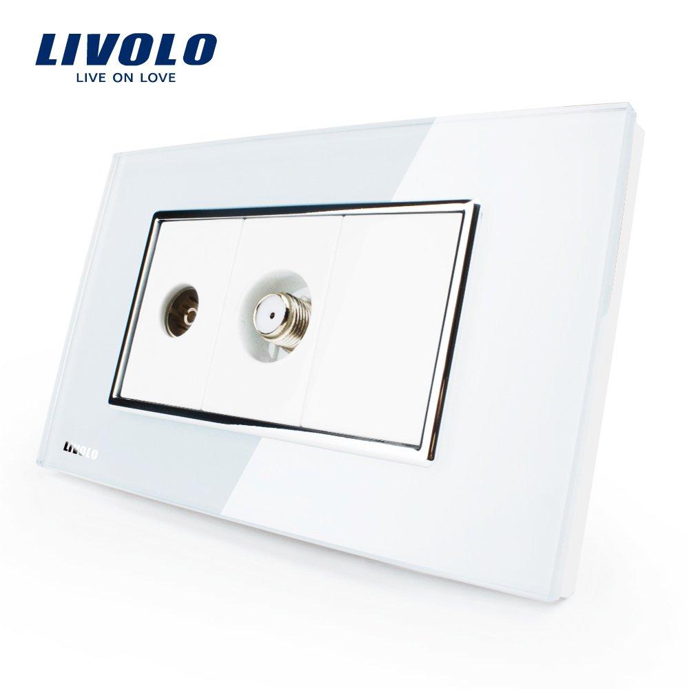 LIVOLO White US/AU Standard TV & SATV Socket Luxury Tempered Glass Panel, C391VST-81