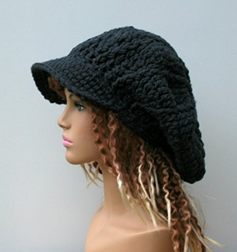 HANDMADE slouchy Newsboy hat, dark gray or black Visor Cap, Tam Hat, Slouchy Beanie hat