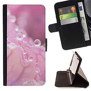 For HTC One M7 - Pink Water Drop Pink Splash /Funda de piel cubierta de la carpeta Foilo con cierre magn???¡¯????tico/ - Super Marley Shop -