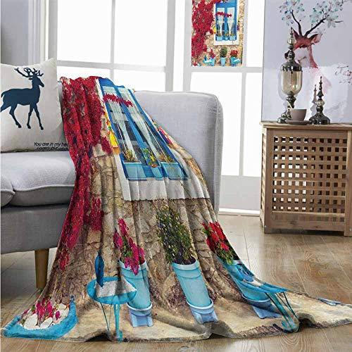 (Super Soft Lightweight Blanket Coastal Italian Design Mediterranean House with Greek Windows Print Blanket as Bedspread W60 xL91 Pale Brown White and Navy Blue)