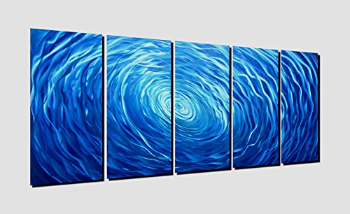 Winpeak Pure Handcraft Blue Vortex Aluminum Metal Wall Art Abstract Painting Large Indoor and Outdoor Modern Contemporary Decor Sculpture Decorative Artwork (64''Wx 24''H (12''x24'' x5 panels)) by Winpeak Art