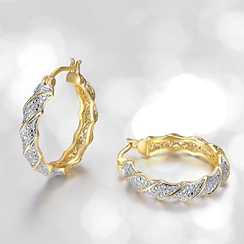 18k Two Tone - 18k Yellow Gold Plated Bronze Diamond Accent Two Tone Twisted Hoop Earrings