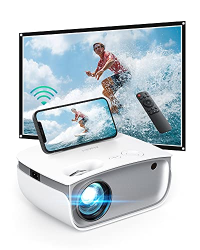 AUKEY Mini Projector, [2021 Upgrade] Portable LED Projector WiFi 1080P Full HD Supported, 5500 Lux Brightness, 50000-Hour LED Lamp Life, Phone Projector Compatible with HDMI/AV/USB/Laptop