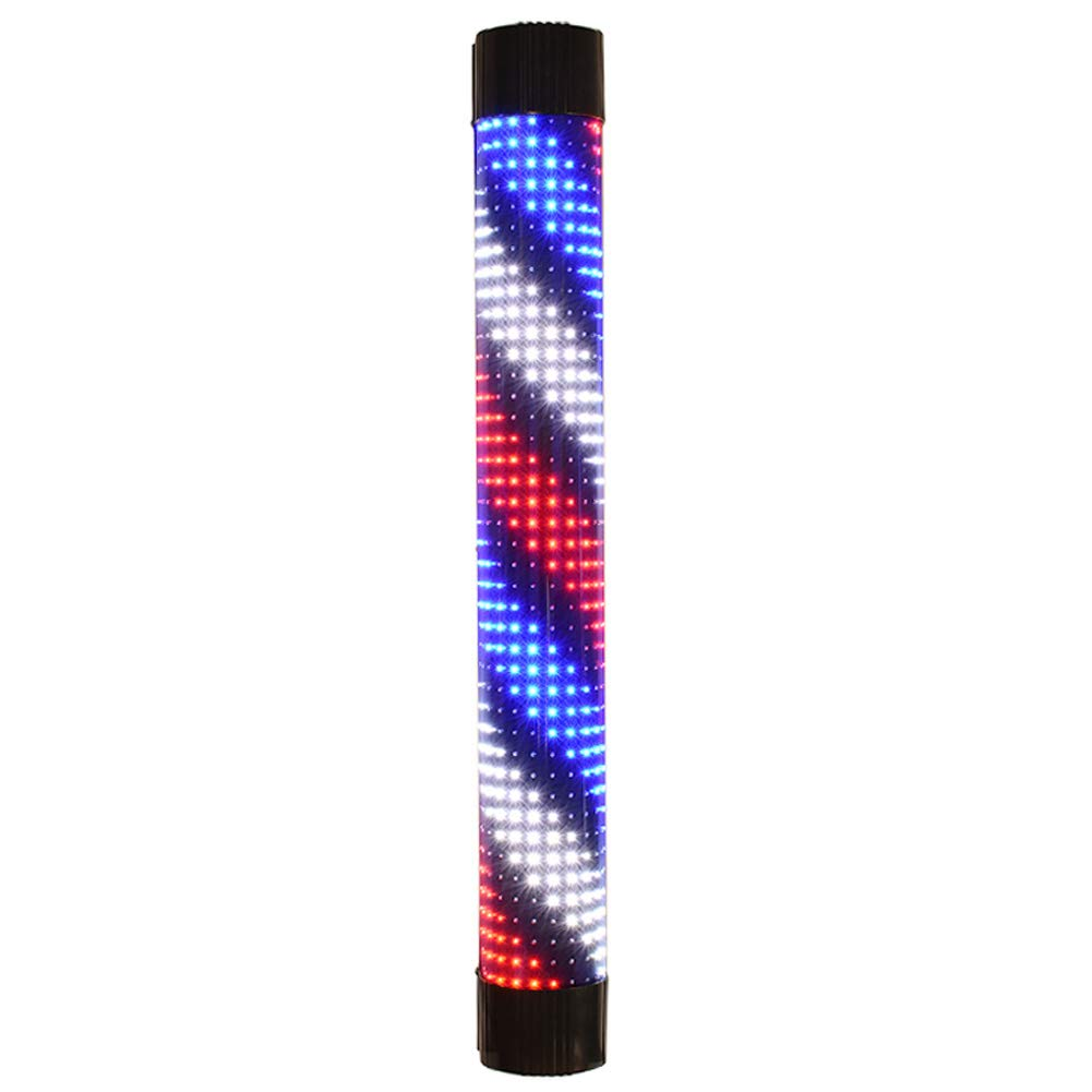 XGPT Barber Shop Pole Rotating Lighting LED Black Shell Red White Blue Twill Strip Remote Control More Size,Red+Blue+White,90Cm
