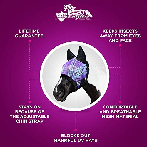 Kensington Fly Mask with Fleece Trim and Soft Ears — Allows Full Visibility with Maximum Protection  — Features Original Double Locking System — UV Protection with Comfortable Fleece Trim by Kensington Protective Products (Image #2)