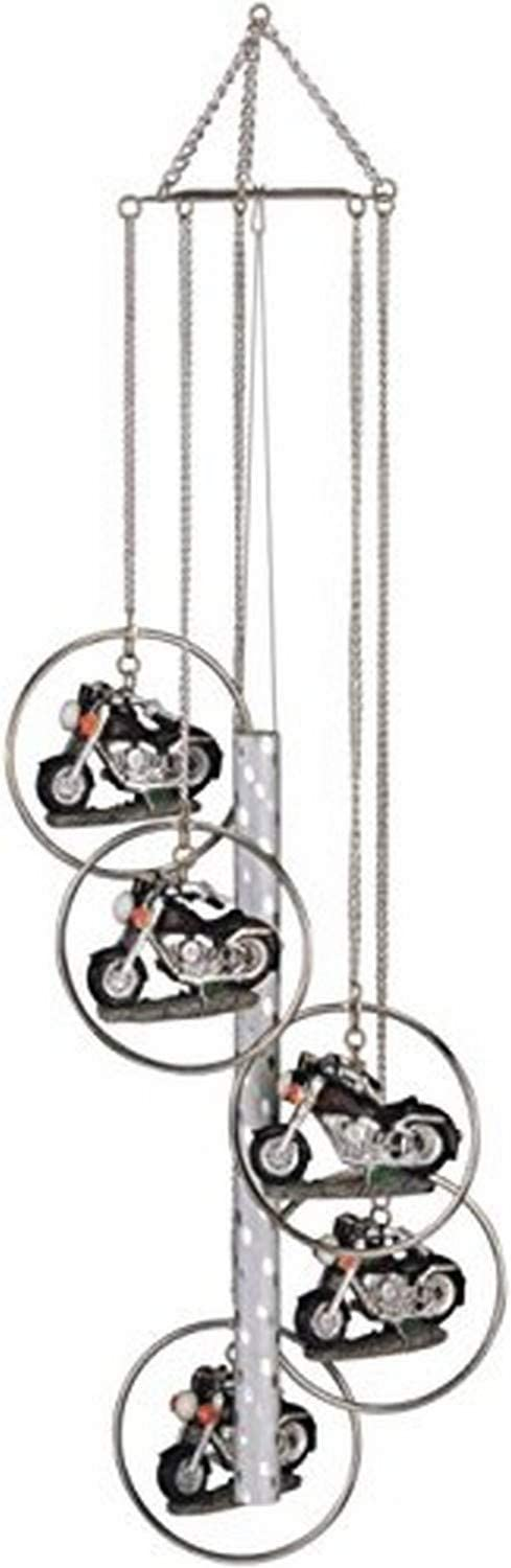 StealStreet 5 Ring Polyresin Charm Motorcycle Hanging Garden Decoration Wind Chime