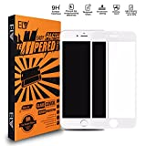 ELV Glass Screen Protector Scratch Free Ultra Clear 5D Tempered Glass (Unbreakable Edges), Full Coverage For iPhone 8 Plus - White