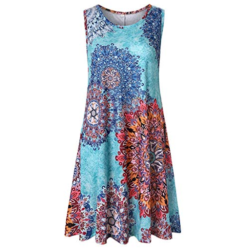 HYIRI Flower Printed Casual Dress,Women's Ladies Sleeveless Loose Tanks Round Neck Blue from HYIRI