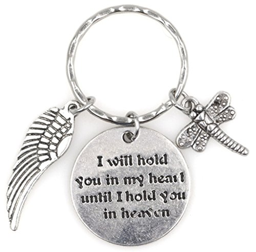 (I Will Hold You in My Heart Until I Hold You in Heaven Angel Wing Dragonfly Keychain 115G)