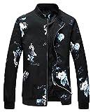 EMAOR Mens Floral Printed Baseball Bomber Jacket Outwear Coat Zipper
