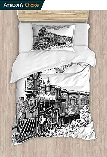 Steam Engine Custom Made Quilt Cover and Pillowcase Set, Rustic Old Train in Country Locomotive Wooden Wagons Rail Road with Smoke, Cool 3D Outer Space Bedding Digital Print - 2 Piece Black and White