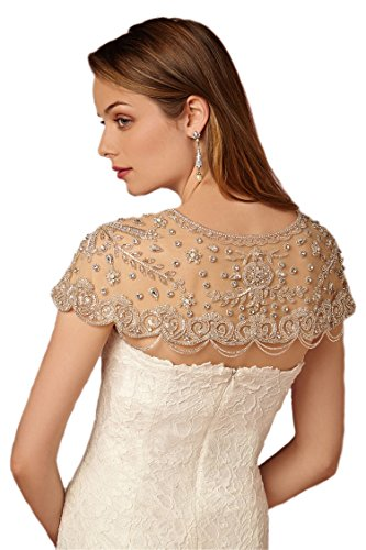 Large Floral Filigree - Passat Pale Ivory Floral Filigree Beaded Dress Topper S PJ3