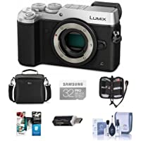 Panasonic Lumix DMC-GX8 Mirrorless Digital Camera Body Silver - Bundle with Camera Bag, 32GB SDHC U3 Card, Cleaning Kit, Memory Wallet, Card Reader, Software Bundle