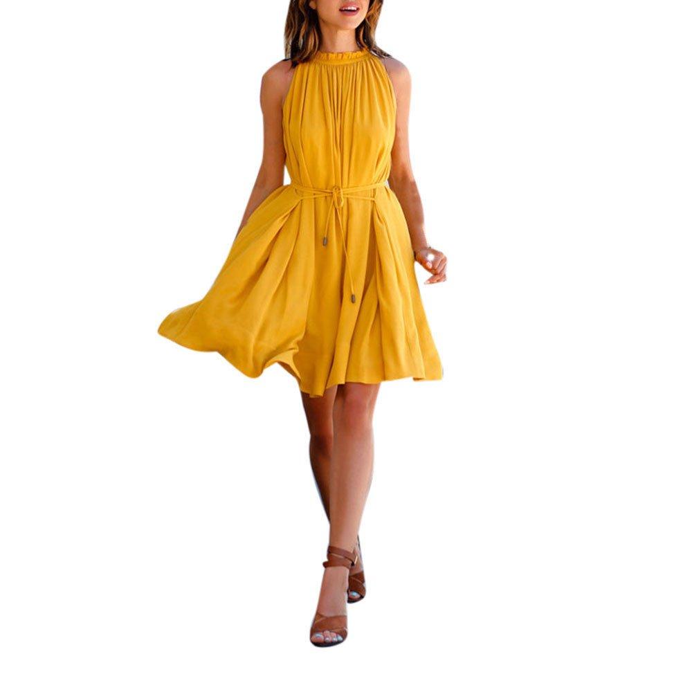 Dresses Elegant for Girls,Mlide Women's Sleeveless Summer Plain Pleated Dress Beach Party Casual Dress,Yellow XL by Mlide (Image #1)