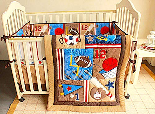 BabyCrib Unique Cute Adorable, All Sports Set, Brown, 10 Piece Bedding Set, Including Crib Bumper, Diaper Stacker, and Bonus Baby Monthly Milestone Blanket for Newborn Baby - Mobile Brown Musical Baby Crib