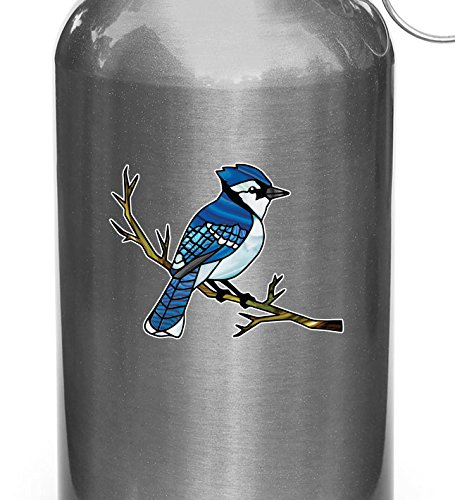 (Yadda-Yadda Design Co. Bird - Blue Jay Perched on Branch - Stained Glass Style Vinyl Water Bottle Decal - Copyright (3