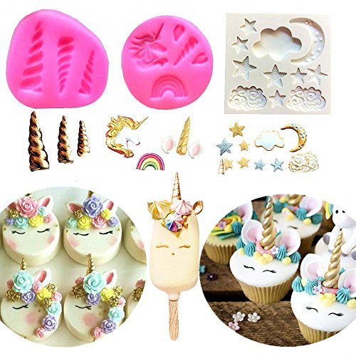 Set Silicone Solutions Bakeware ((Set of 3) JeVenis Mini Unicorn Mold Unicorn Horn Ears Stars and Rainbow Fondant Chocolate Mold Cupcake Topper Cake Decortaion)