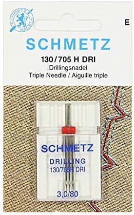 Schmetz - Agujas para máquina de coser + enhebrador de agujas, Single Packet, Triple 3.0/80