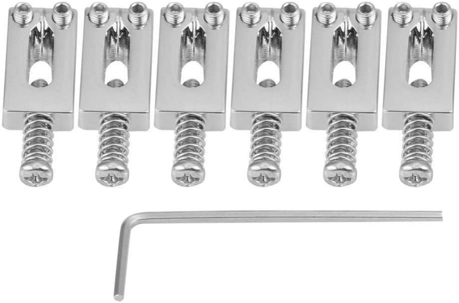 Black Guitar Bridge Tremolo Saddles Replacement without Roller for Fender Strat Tele Electric Guitar 6 PCS Bridge Tremolo Saddles