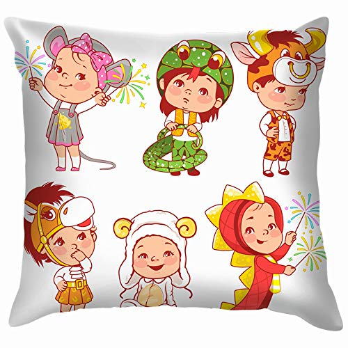 Cute Little Baby Wear Carnival Costumes Animals Wildlife Animal People Funny Square Throw Pillow Cases Cushion Cover for Bedroom Living Room Decorative 12X12 -