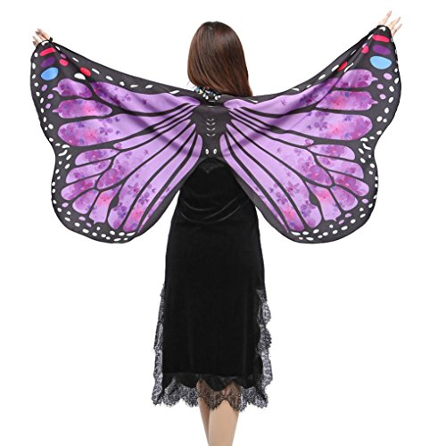 FORESTIME Women Girls Butterfly Wings Shawl Scarves Ladies Nymph Pixie Poncho Costume Accessory (purple, one)