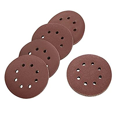 Sanding Discs, 5 Inch Hook and Loop Round Sandpaper Discs, Dustless 8 Hole Sand Paper, Assorted Pack of 100 Including 20 Discs Each of 60 Grit, 80 Grit, 120 Grit, 180 Grit, and 220 Grit