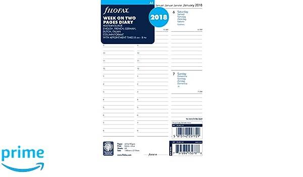 Agenda para citas Filofax A5 (año 2018, 1 semana en 2 ...