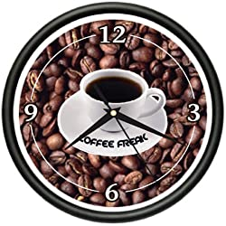 COFFEE Wall Clock shop cafe kitchen beans java mug