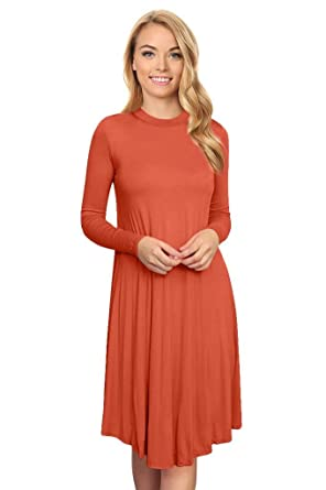 886184592c0 Simlu Basic Plus Size and Reg Fitted Top and Sleeves A Line Dress Long  Sleeve