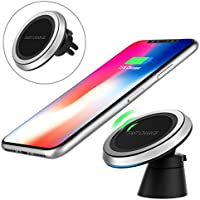 MoKo Magnetic Fast Qi Wireless Car Charger, 360 Degree Rotation Air Vent Holder and Dash Board Mount for iPhone 8/ 8 Plus/ iPhone X, Samsung Galaxy Note 8/ S8/ S8 Plus and Qi-Enabled Devices, Black