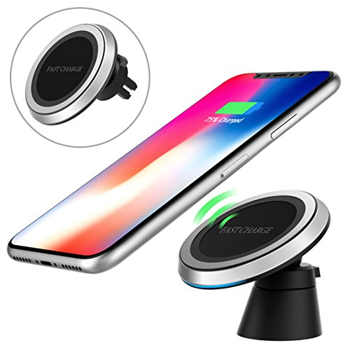 MoKo Magnetic Fast Qi Wireless Car Charger, 360 Degree Rotation Air Vent Holder and Dash Board Mount for iPhone X/8/8 Plus, Samsung Galaxy S9/S9+/Note 8/S8/S8 Plus and Qi-Enabled Devices, Black by MoKo (Image #9)