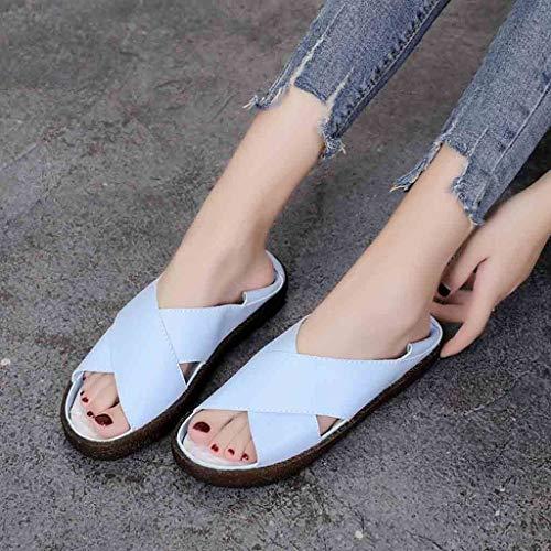 Womens Mouth Décontractées Épais Shoes Fond Sandales Été Canifon Fish Pieds Sloth À Bleu AwB5SEq