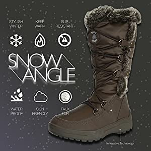DailyShoes Women's Woman's Knee High Up Warm Fur Water Resistant Eskimo Snow Boots, 9.5