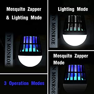 Vexverm Mosquito Zapper, Solar Powered & USB Rechargeable Insect Killer - 3 Modes Insect Mosquito Worm Bug Flies mothes Killer LED Lamp for Camping Picnic Hiking