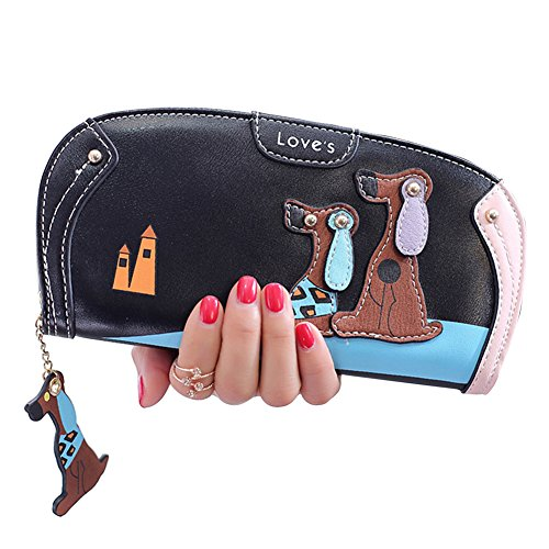 Woman Wallet RFID Blocking Credit Card Holder Purse with Dog Decoration