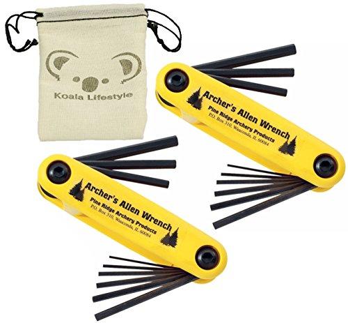 Pine Ridge Archery Bow Archers Allen Wrench Tool Set   2pk Bundle + Pouch (Deluxe Size)