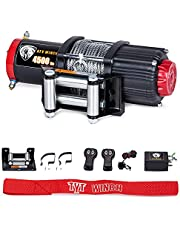 TYT 4500 lb. Advanced Load Electric Steel Cable Winch for Towing ATV/UTV Off Road Kits, 12V Electric Winch with 4-Way Roller Fairlead, 2 Wireless Remotes and Mounting Bracket