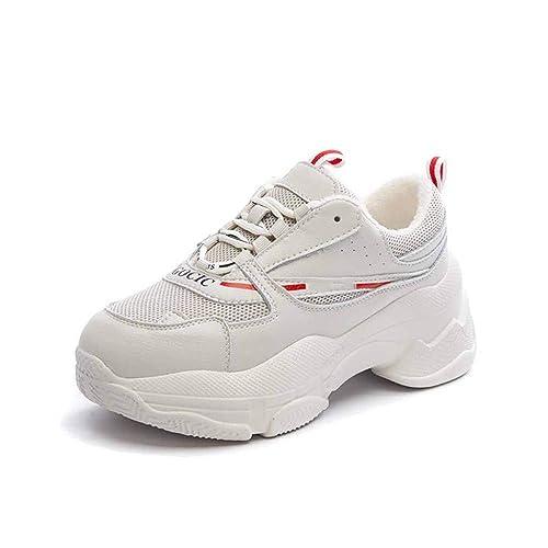 Zapatillas De Deporte Chunky Deportivas para Mujer Zapatos De Corte Bajo Zapatillas De Correr para Correr Zapatillas De Deporte Retro Zapatillas Blancas: ...