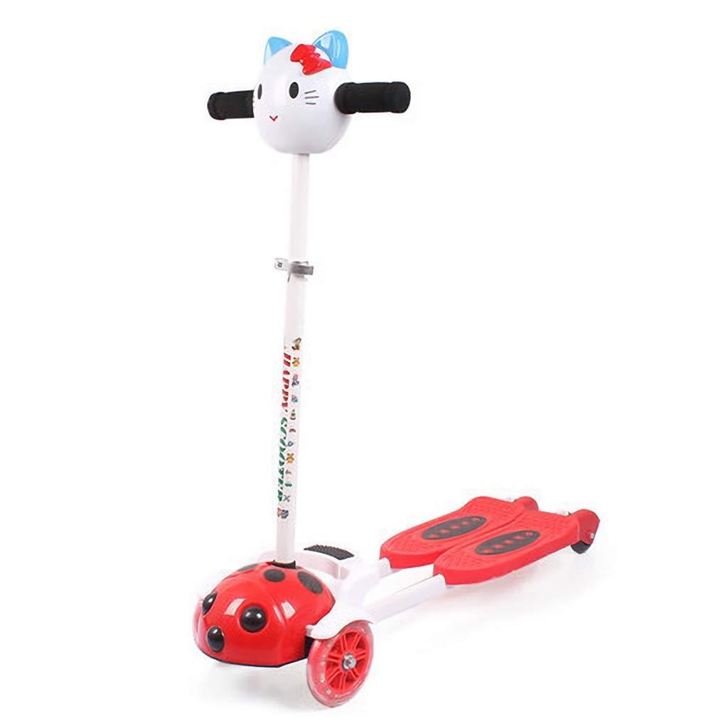 Scooter de rana de cuatro ruedas para niños con ruedas extra ligeras de PU y cuatro pedales de altura ajustable para niños de 3 a 14 años (Color : Red)