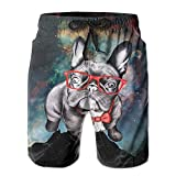 crystars Men's Funny French Bulldog with Glass Quick Dry Swim Trunks Short Beach Pant XX-Large