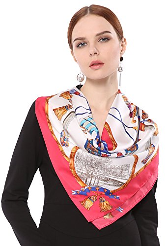 Grace Scarves 100% Silk Scarf With Hand Rolled Edges, Large, Decorative Arms, Rose