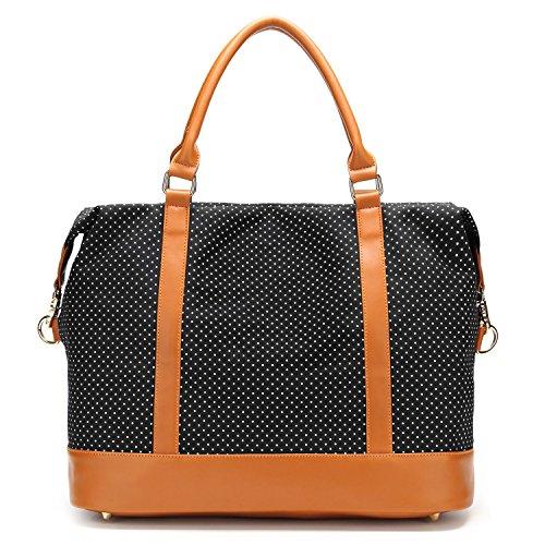 - Women Ladies Canvas Weekender Bag Overnight Carry-on Tote Duffel in Trolley Handle (Polka Dot Black)